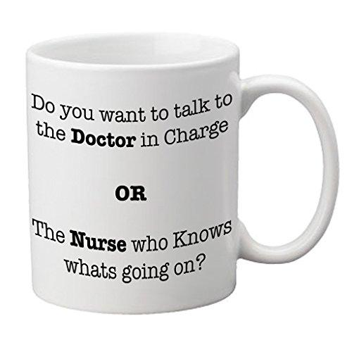 94f5ab331f ''Do you want to speak to the Doctor in Charge OR the Nurse who Knows whats  going on?'' Mug - Medinc - Emergency Stationery