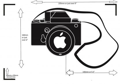 Camera Laptop Decal measurements