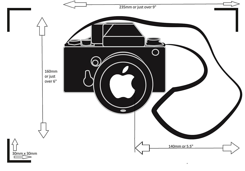 Camera Laptop Decal measurements