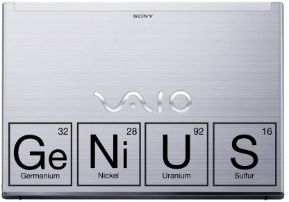 Genius Periodic Table laptop decal Vaio