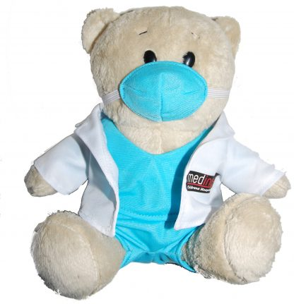 Doctor Bear or Dr Bear with white coat and Blue Scrubs